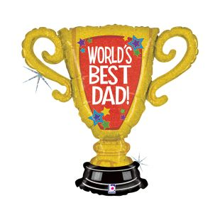 BALÃO METALIZADO WORLDS BEST DAD TROPHY HOL. GRABO