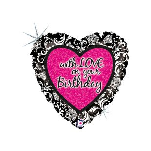 "BALÃO METALIZADO WITH LOVE ON YOUR BIRTHDAY DAMASK 18"" GRABO"