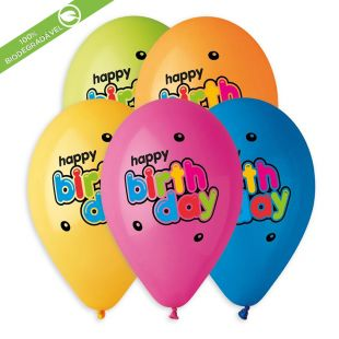 "BALÃO DE LÁTEX MULTICOLOUR HAPPY BIRTHDAY BUBBLE GS120 COM 25 UNIDADES -13"" (APROX. 33CM)"