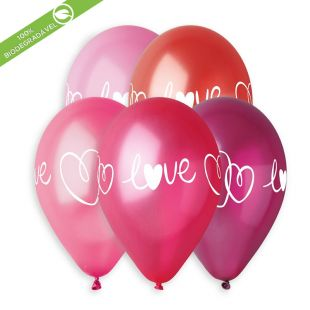"BALÃO DE LÁTEX WHITE LOVE AND HEARTS GMS120 COM 25 UNIDADES -12"" (APROX. 30CM)"