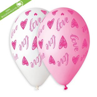 "BALÃO DE LÁTEX LOVE AND HEARTS GS120 COM 25 UNIDADES -13"""" (APROX. 33CM)"