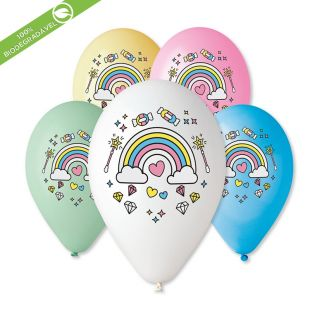 "BALÃO DE LÁTEX COLOURFUL RAINBOW GS120 COM 25 UNIDADES -13"""" (APROX. 33CM)"
