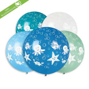 "BALÃO DE LÁTEX UNDER THE SEA GS30 COM 5 UNIDADES -31"""" (APROX. 80CM)"